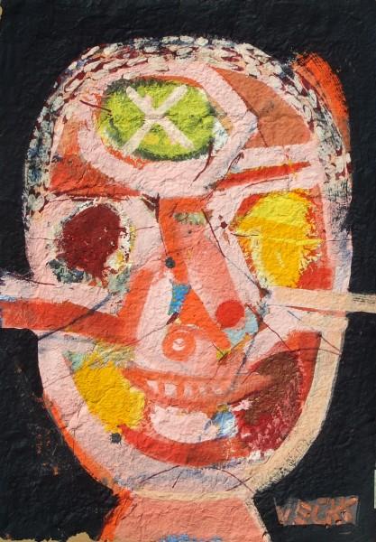 Bohóc 70x50, akril, merített papír, 2015