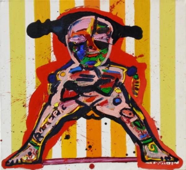 Kabala baba III., akril, olaj, vászon, 70x75, 2016