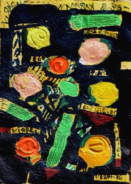 Madarak az ég virágai,III. 2016,akril,,merített papír 48x34cm