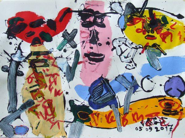 Derűs napok, 2017, akril, papír, 55x75