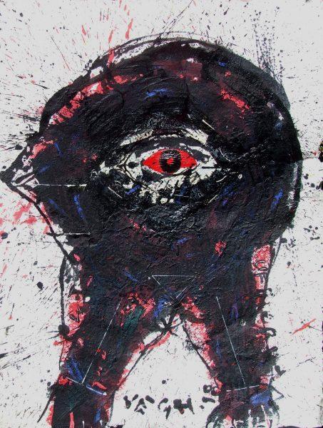 Feketerigó, 2018, akril, merített papír, 80x60
