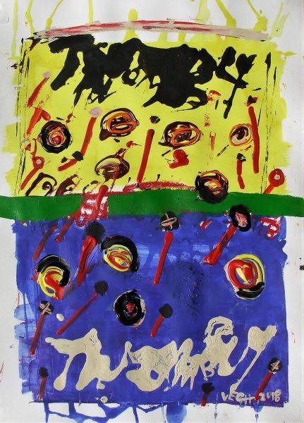 Kert, kék-sárgában, 2018, akril, papír, 75x64 (2)