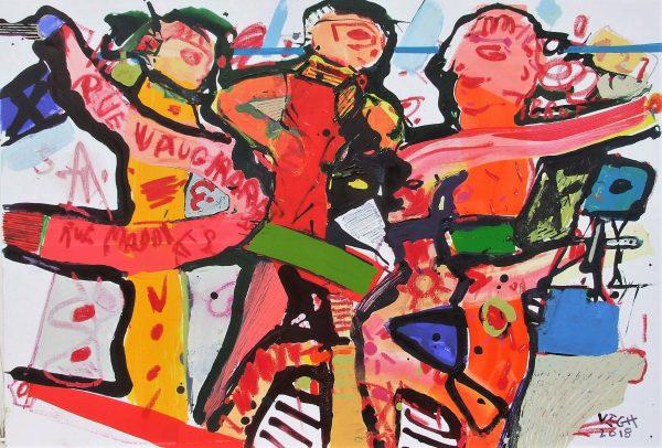 Rue Madames, 2018, akril, vászon, 90x70