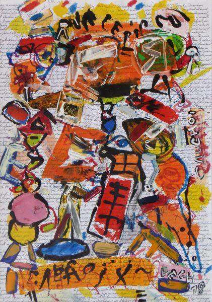 Művészlevél, 2018, akril, papír, 80x60