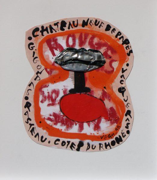 Vörösboros címke, 2018, akril, fém, vászon, 31x27