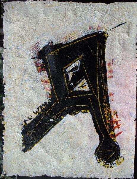 Betű, 2019, akril, merített papír 80x60