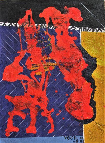 Vörös véletlen,II, 2019, akril, merített papír, 80x60