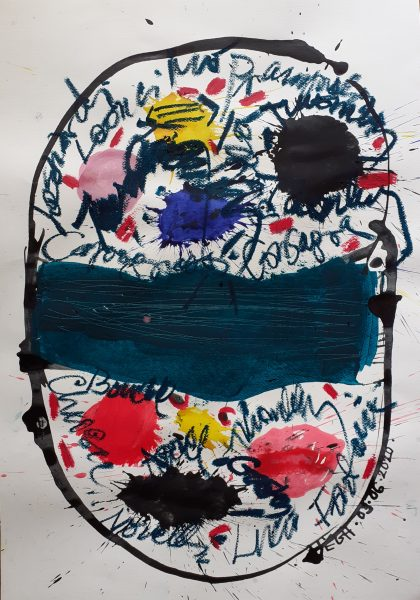 Művész-maszk, 2020, akril, papír, 74x52