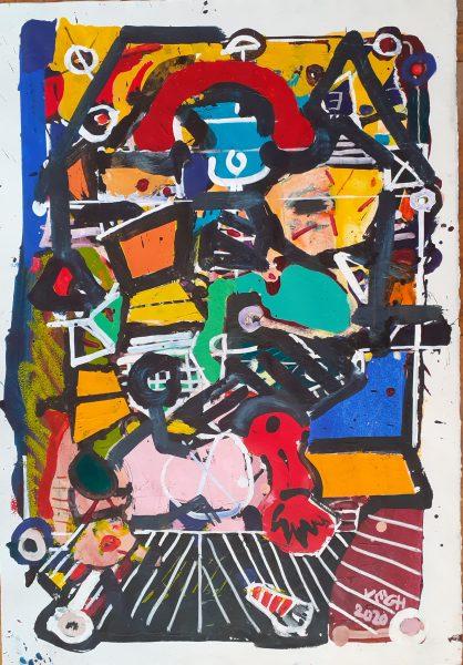 Bőrönd II., 2020, akril. papír, 74x52