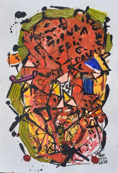 Csipkebokor, 2020, akril, papír, 744x52